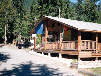 North Barriere Lake Resort convenience store with goods, running toilets, and hot showers.